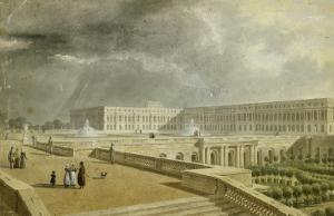 Vue du château de Versailles et de l'Orangerie depuis les Cent Marches sous Louis-Philippe