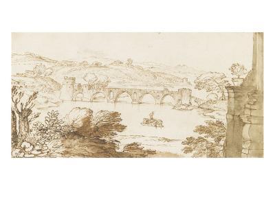Vue du Ponte Molle, prise de la Villa Madama-Giovanni Francesco Grimaldi-Giclee Print