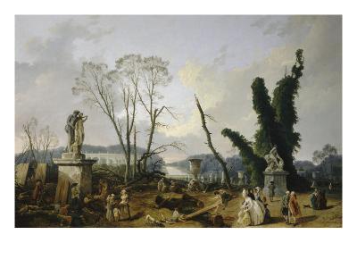 Vue du Tapis Vert à Versailles-Hubert Robert-Giclee Print