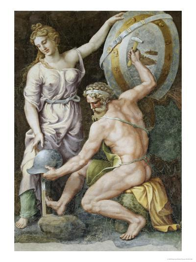 Vulcan Forging Armour For Achilles-Giulio Romano-Giclee Print