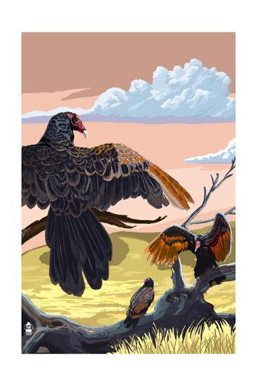 Vultures-Lantern Press-Art Print