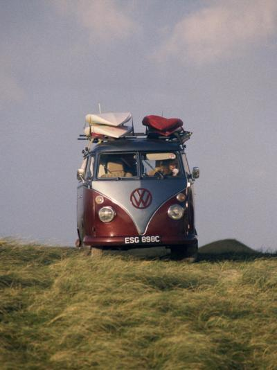 VW Camper Van with Surf Boards on Roof-Dominic Harcourt-webster-Photographic Print