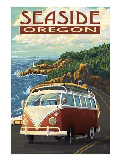 VW Van Coastal Drive - Seaside, Oregon-Lantern Press-Art Print