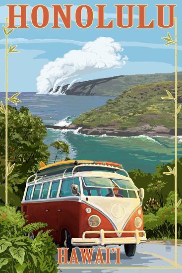 VW Van Coastal - Honolulu, Hawaii-Lantern Press-Art Print