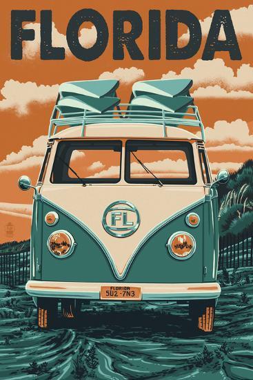 VW Van - Florida-Lantern Press-Art Print
