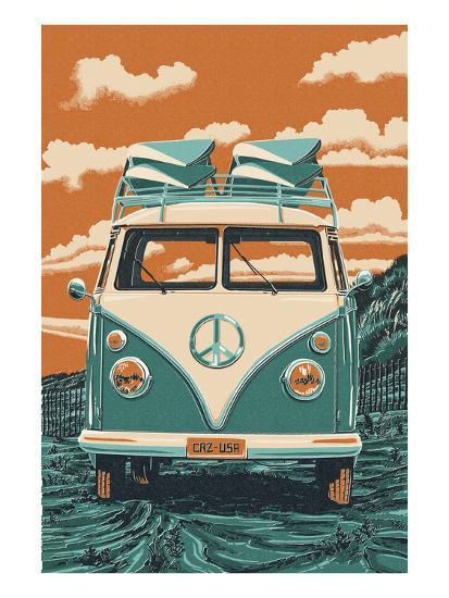 VW Van-Lantern Press-Art Print