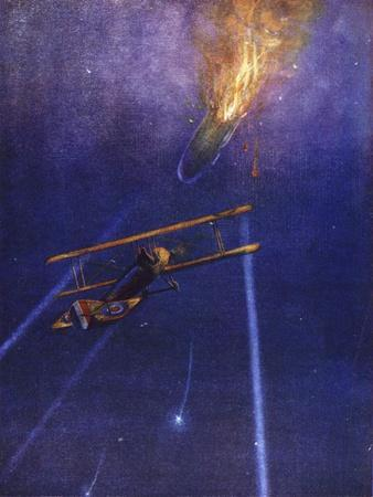 Lieutenant William Leefe Robinson Attacks an Enemy Airship and Brings it Down in Flames