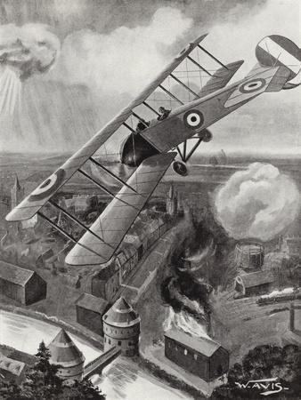 Second Lieutenant L a Strange Bombing the Railway Junction at Courtrai, Belgium, World War I