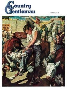 """Calf Roping Contest,"" Country Gentleman Cover, October 1, 1948 by W^C^ Griffith"