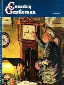 """""""Father and Time,"""" Country Gentleman Cover, March 1, 1946 by W.C. Griffith"""