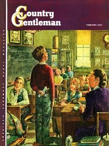 """""""Oral Report,"""" Country Gentleman Cover, February 1, 1947 by W.C. Griffith"""