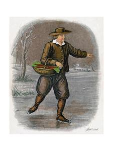 Dutch Man Skating with a Basket of Vegatables, 1809 by W Dickes
