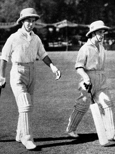 W. Edrich and N.W.D. Yardley Going Out to Bat, Lahore, 1937--Photographic Print