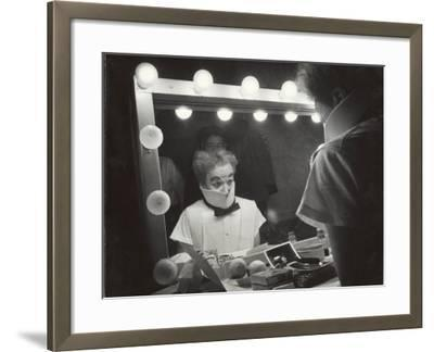"""Actor Charles Chaplin Clowning at Make-Up Mirror During Filming of """"Limelight"""""""