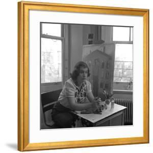 American Artist Honore Desmond Sharrer (1970 - 2009) in Her Studio, February 1950 by W^ Eugene Smith
