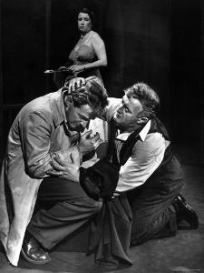 Arthur Kennedy and Lee J. Cobb in Scene from Arthur Miller's Death of a Salesman by W. Eugene Smith