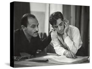 Composer Marc Blitzstein with Conductor/Composer Leonard Bernstein Studying Score of Blitzstein by W. Eugene Smith