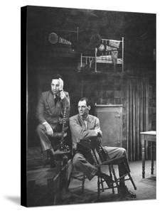Director Elia Kazan and Playwright Arthur Miller Sitting on Broadway Set of Death of a Salesman by W. Eugene Smith