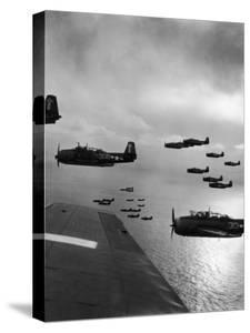 Navy Grumman Avenger Torpedo Bombers Flying Toward Their First Naval Air Strike on Japan by W. Eugene Smith