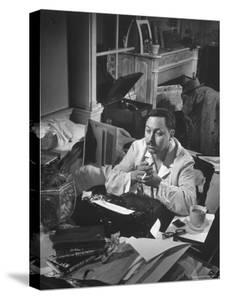 """Playwright Tennessee Williams, Working on a New Play, with Success of """"A Streetcar Named Desire"""" by W. Eugene Smith"""