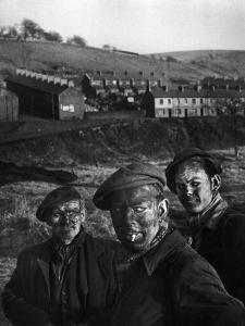 Three Welsh Coal Miners Just Up from the Pits After a Day's Work in Coal Mine in Wales by W. Eugene Smith