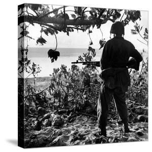 US Marine Looking at Bodies of Dead Japanese Soldiers Killed During Battle For Control of Saipan by W. Eugene Smith