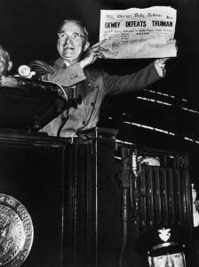 Victorious President Harry Truman Displaying Chicago Daily Tribune Headline, Dewey Defeats Truman by W. Eugene Smith