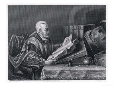 Scholar Wearing a Fine Cloak Peers Through His Monocle to Read a Large Format Book