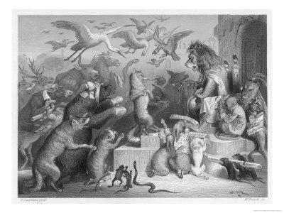 Summoned to the Royal Court by King Noble (The Lion) the Animals Gather for Reinecke's Trial