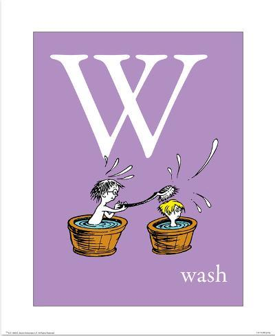 W is for Wash (purple)-Theodor (Dr. Seuss) Geisel-Art Print