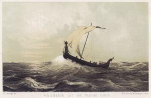 Viking Vessel Heads out into the Open Sea Her Sail Bellying out Before a Favouring Wind by W.j. Hofdijk