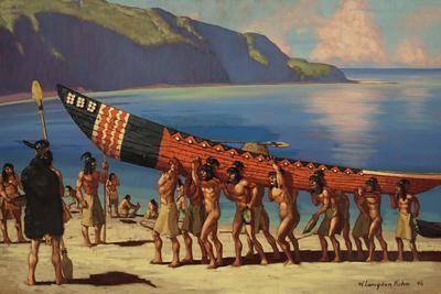A Group of Chumash Indians Carry a Plank Canoe from the Water