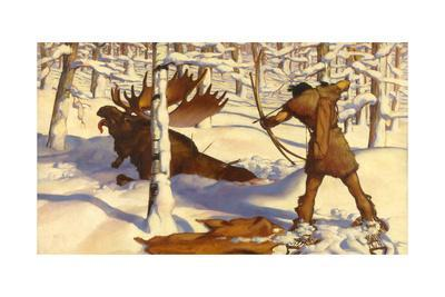 A Penobscot Indian Hunts a Moose in the Penobscot River Valley