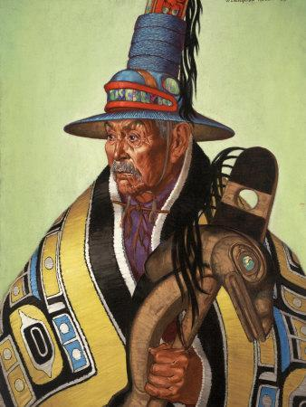 Head Chief of the Tlingit Holds Killer-Whale Staff of Office
