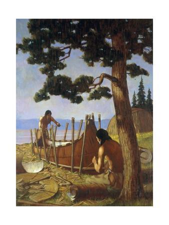 Ojibwa Indians, Commonly Called Chippewa, Fashion a Birch Bark Canoe