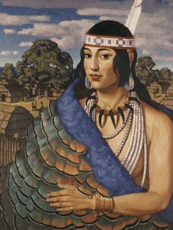 Pocahontas Wears a Turkey-Feather Robe