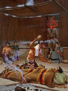 Tlingit Shaman Wearing Spirit Headdress Shakes Rattle over Sick Man by W. Langdon Kihn