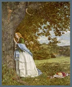 """The Talking Oak"", Illustration to the Poem by Tennyson: a Girl and a Tree Share Confidences by W. Maw"