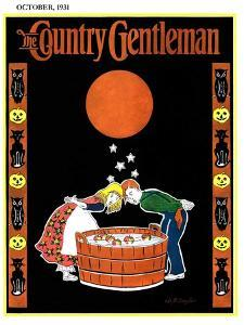"""""""Bumping Bobbing for Apples,"""" Country Gentleman Cover, October 1, 1931 by W. P. Snyder"""