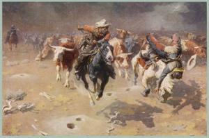Cowboys Trying to Check a Cattle Stampede by W.r. Leigh