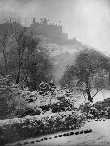 Edinburgh Castle in the Snow, from Princes Street Gardens, Scotland, 1924-1926 by W Reid