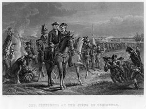 General Pepperell at the Siege of Louisburg, Canada, 18th Century by W Ridgeway
