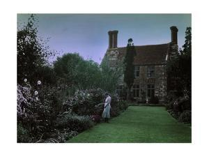 A Woman Admires the Blooms of the Yaverland Manor Gardens by W. Robert Moore