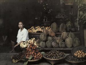 Lady Sits by Her Bangkok Stand of Unique Fruit by W. Robert Moore
