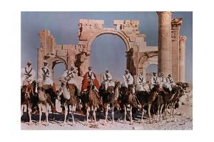 Natives Lines Up their Camels to Ride before the Gateway at Palmyra by W. Robert Moore