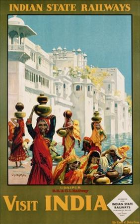 Visit India - Indian State Railways, Udaipur Poster by W^S Bylityllis