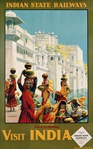 Visit India - Indian State Railways, Udaipur Poster by W.S Bylityllis