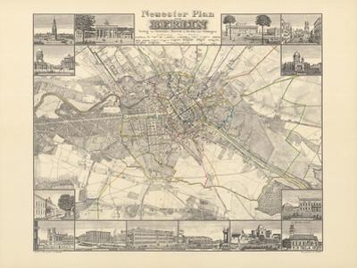 Historical Map of Berlin, Published by Verlag Von Gebrueder Rocca, Berlin 1838 by W.v. Moellendorf