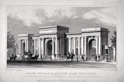 View of Hyde Park Corner, London, 1828