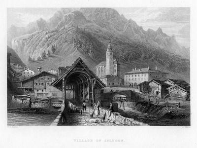 Village of Splugen, Switzerland, 1834